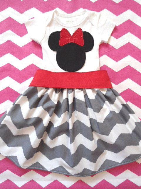 Minnie Mouse Disney Dress - Gray Chevron - CUSTOM - Sizes 12 Months to 6 Years