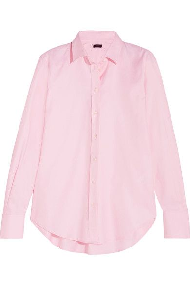 A chic alternative to white, Joseph's pastel-pink shirt is made from cotton-poplin with no added stretch so it holds its crisp shape beautifully. This slim style has a curved hem that's perfect for tucking into pants or skirts. We love it layered under a bustier top.
