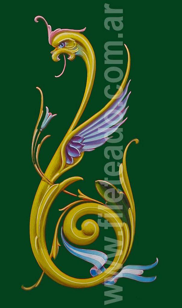 https://flic.kr/p/9ke27g | Dragon verde | Dragón verde  28 x 50 cm Esmalte Sintetico sobre hardboard VENDIDO  agfileteado@yahoo.com.ar