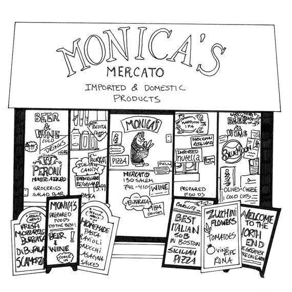Monica's Mercato North End Boston  Print by evanleekArt on Etsy, $30.00