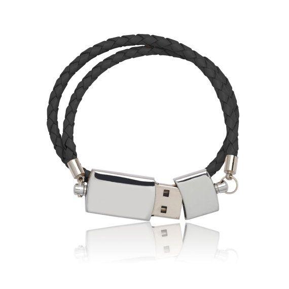 8 GB Scandinavian USB stick leather braided bracelet