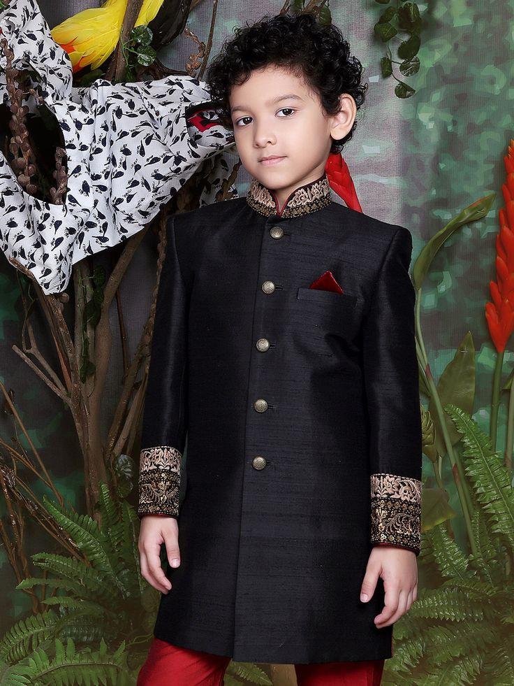 Solid Black Raw Silk Indo Western
