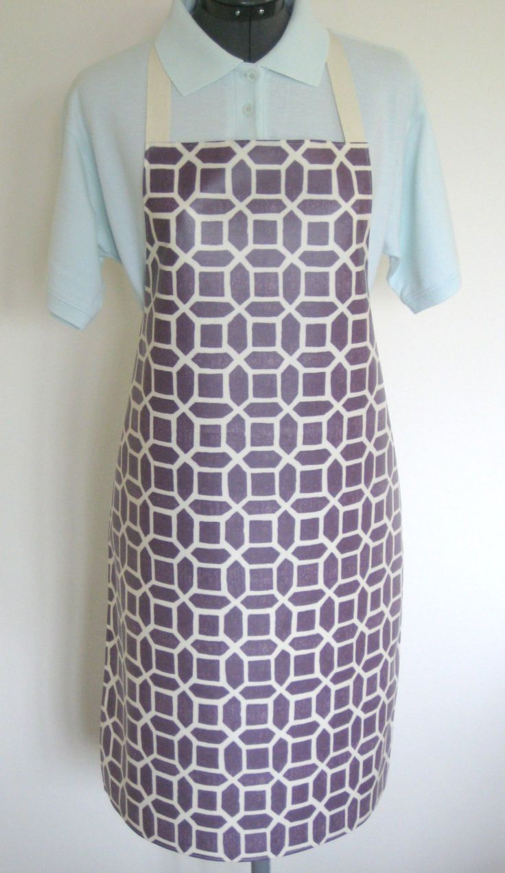 White apron london - Adult Matt Oilcloth Apron White Geometrics On A Purple Background Pvc Apron Waterproof Apron Protective Apron