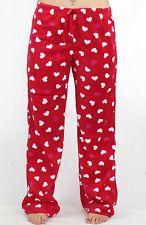 Ladies Pyjamas PJs Ladies Winter Red Hearts Fleece Pants