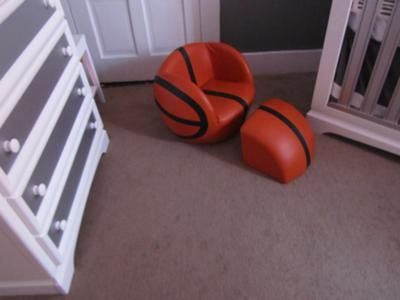 Basketball chair: We were inspired by the Oilo Sticks Crib Bedding Collection in Pewter on csnbaby.com.  The design is very different and modern.  We adapted what they had