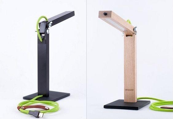 Luminária para mesa de madeira com LEDs
