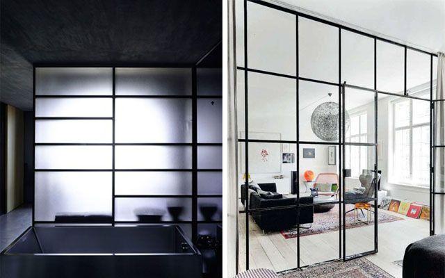 Separadores de espacios a base de paneles móviles y celosías