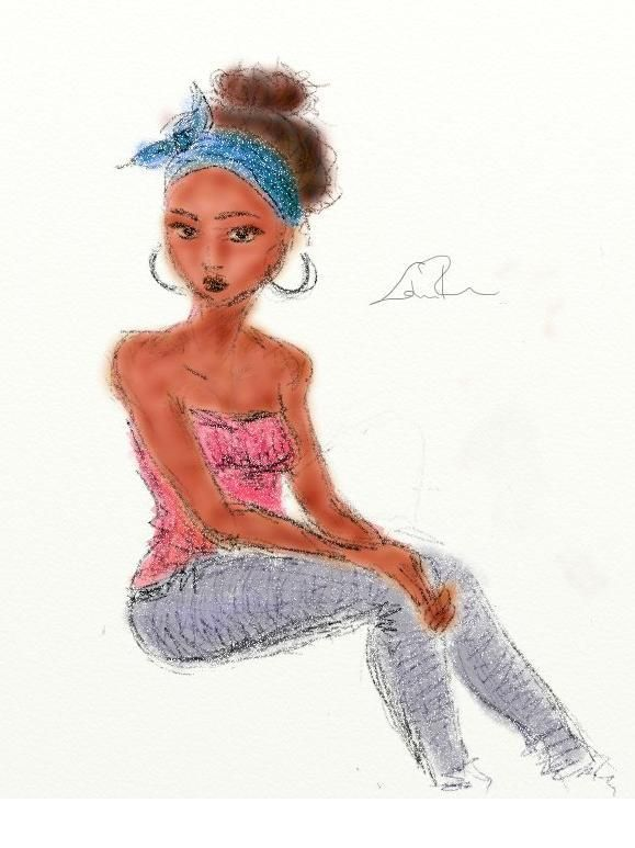 Black girl fashion illustration by Flora Laszlo 2012 via ArtRage Painting Software