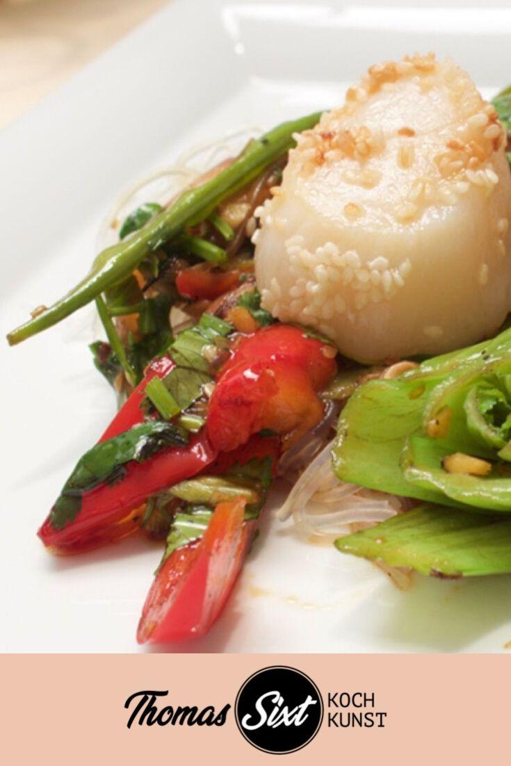 Asiatischer Salat mit Glasnudeln und Jakobsmuscheln, Rezept mit Kochvideo Anleitung