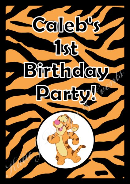 Party Poster Prints #Tigger #Tiger #Winnie #The #Pooh #Unisex #Boy #Girl #1st #Baby #Shower #Birthday #Bunting #Party #Decorations #Ideas #Banners #Cupcakes #WallDisplay #PopTop #JuiceLabels #PartyBags #Invites #KatieJDesignAndEvents #Personalised #Creative