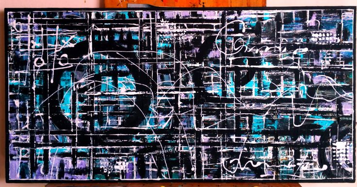 "Nr.217.Abstracta painting [[Road To Success]- D-[100x50] Pictura abstracta lucrari originale De Flo ""The painting has a life of its own. I try to let it come through""     -Jackson Pollock-"