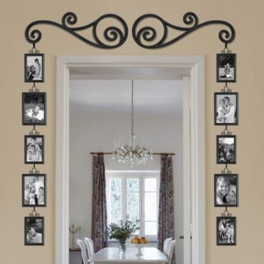 framing a door with pictures.