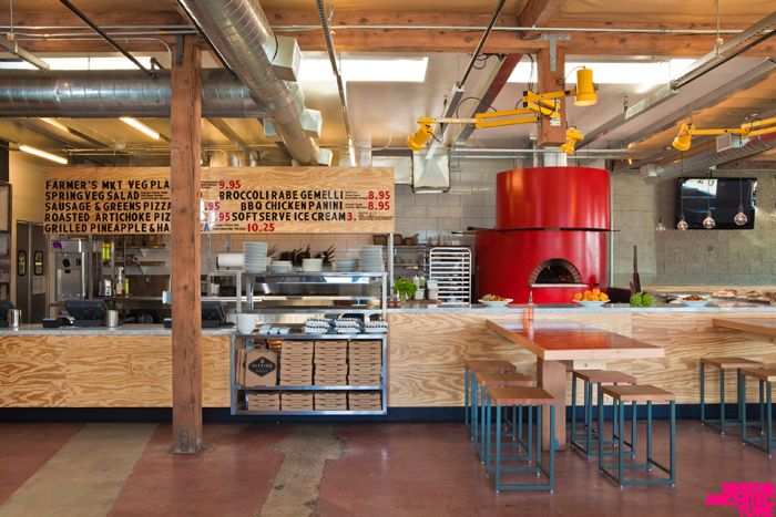 Pit fire pizza, design by architect Barbara Bestor