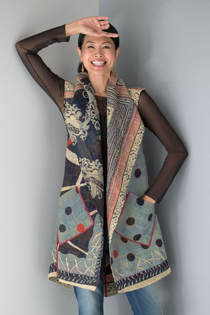 Dot & Paisley Circular Vest by Mieko Mintz. This fully reversible vest is an exquisite statement piece featuring the intricate, colorful patterns of reproduction sari fabric. Sewn in New York from fabric pieced in India using traditional kantha quilting techniques. Overview: Sleeveless Above knee length Reversible design Patch pockets on both front and reverse Pointed shawl collar Hand-stitched, all-over embroidery Artist-made in the U.S.A. Fabric & Care: 100% cotton Dry clean Fit & Sizing…