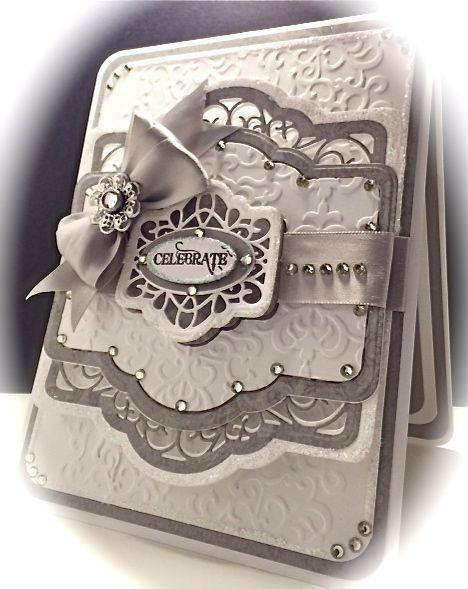Cards by America: Celebrate Card, using Creative Expressions French Collection Dies by Sue Wilson