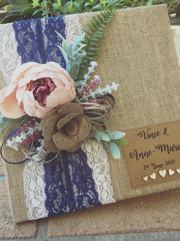 Handmade rustic wedding guest books, made in the colours of your choice.