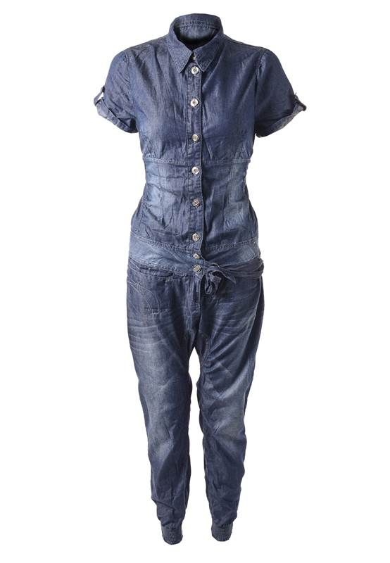 LADIES DENIM SHIRT STYLE/DROP CROTCH TROUSER CUFF ANKLE PLAYSUITS/JUMPSUITS | eBay