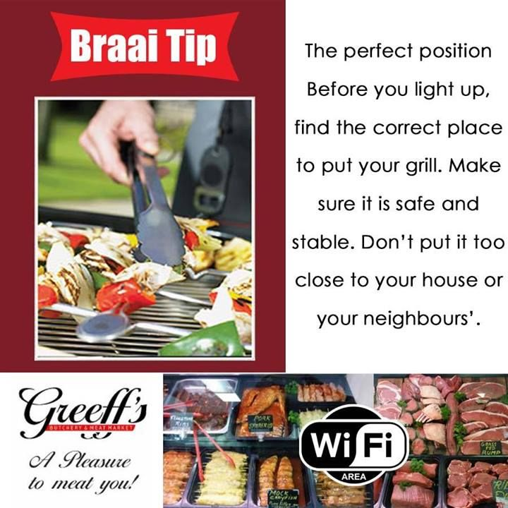 Before you light up, find the correct place to put your grill. Make sure it is safe and stable. Don't put it too close to your house or your neighbours'. #braaitip #braai