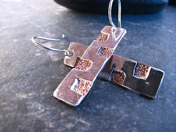 Silver Earrings with Square Copper Designed by melmacdesigns, $48.00