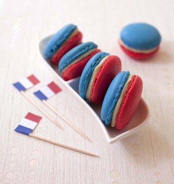 Macarons tricolores bleu blanc rouge