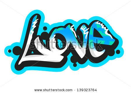 Graffiti vector art urban design element. Love word - stock vector