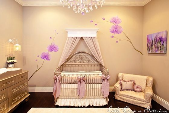 Glam Neutral Nursery with #RadiantOrchid AccentsGirl Nurseries, Baby Girls Room, Mosquitoes Nets, Baby Room, Celebrities Baby, Big Bows, Nurseries Design, Girls Nurseries, Baby Nurseries