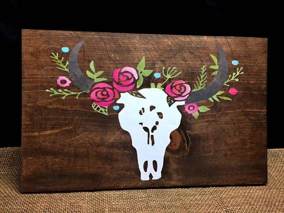 Boho, Western Decor,  Boho Decor, Cow Skull, Cowgirl Decor, Custom Sign,  Floral Nursery, Floral Painted Sign,  Wall Art