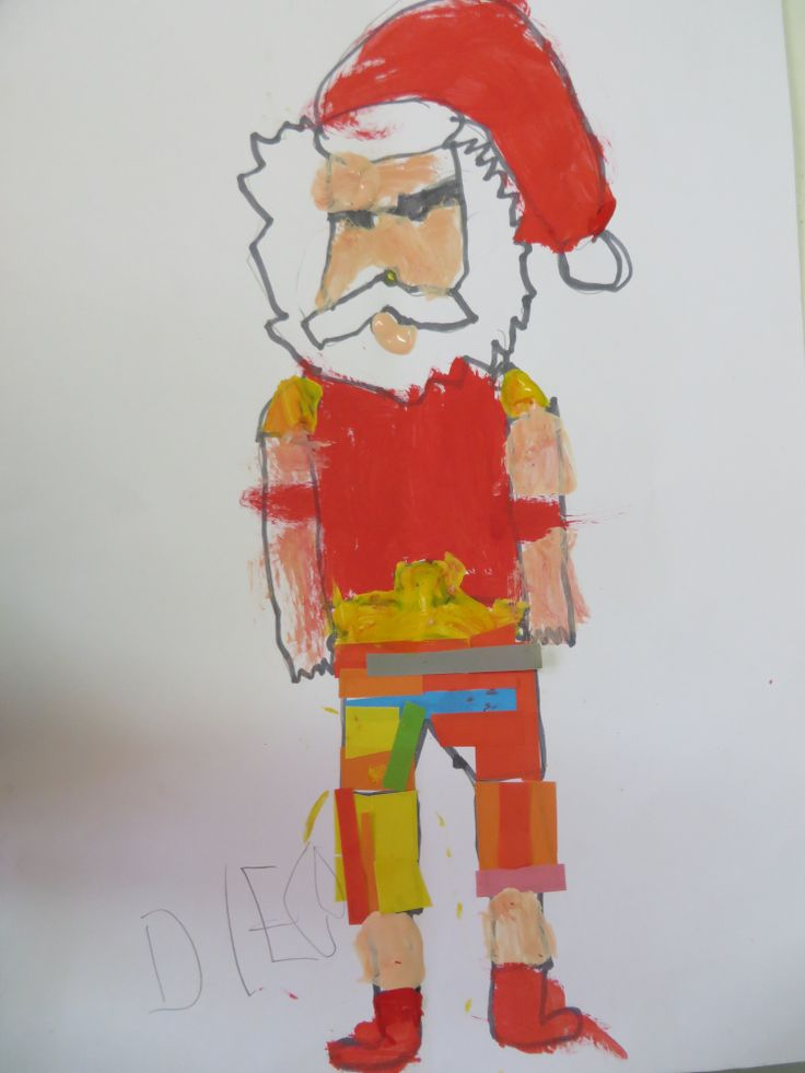 Diego's Summer Santa. He opted to use paper cutouts for the shorts and I love how it turned out!
