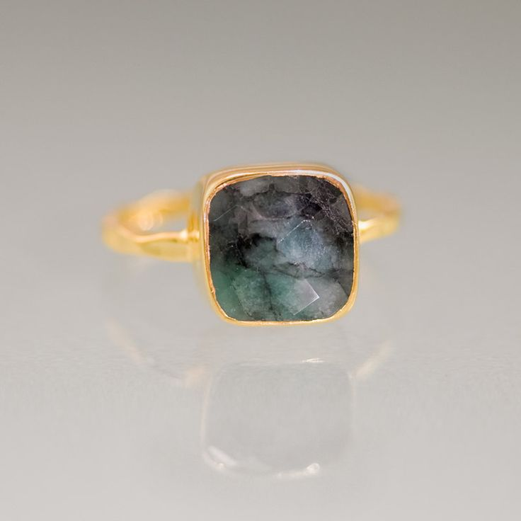 Cushion cut Raw Emerald Ring - Gemstone Ring - Gold Ring - Bezel Ring - May Birthstone Ring. $66.00, via Etsy.