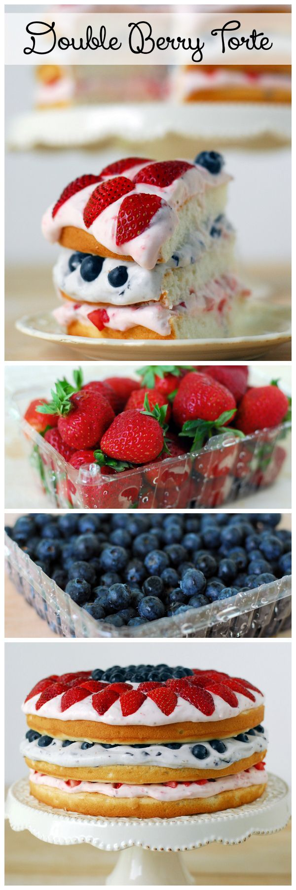 Double Berry Torte is three white cakes layered with strawberries and blueberries in a light, creamy filling. #summerdessert #recipe
