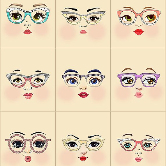 Glasses girls printed on cream fabric  Fabric doll face panel with 9 different faces—a touch of hipster, a little librarian...a lot of cute. :)  Use these cotton poplin faces in your original doll projects. The scale is great for dolls 10 to 18 inches (25-46 cm) tall depending on desired head proportions. Square size: 3.5 inches wide by 4 inches tall (9 by 10 cm) Flat face size: about 3.5 inches tall (9cm) Stuffed face size: 3 inches (8cm) tall Includes scaled face pattern  These designs are…