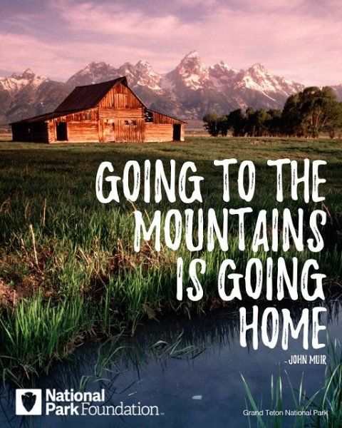 """Image of Muir quote, \""""Going to the mountains is going home.\"""""""