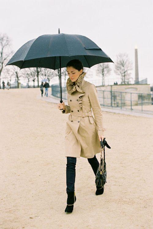 : Paris Fashion, Vanessa Jackman, Fashion Week, Street Style, Trenchcoat, Ruffled Trench, Trench Coats, Rainy Days