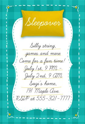 Fun Sleepover Party - Free Printable Sleepover Party Invitation Template | Greetings Island