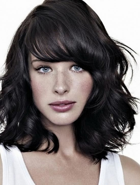 medium length layered hairstyles | Choppy Medium Side Bangs with layered shoulder length hairstyle: