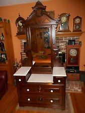 Antique Victorian Walnut Eastlake Marble Top Dresser