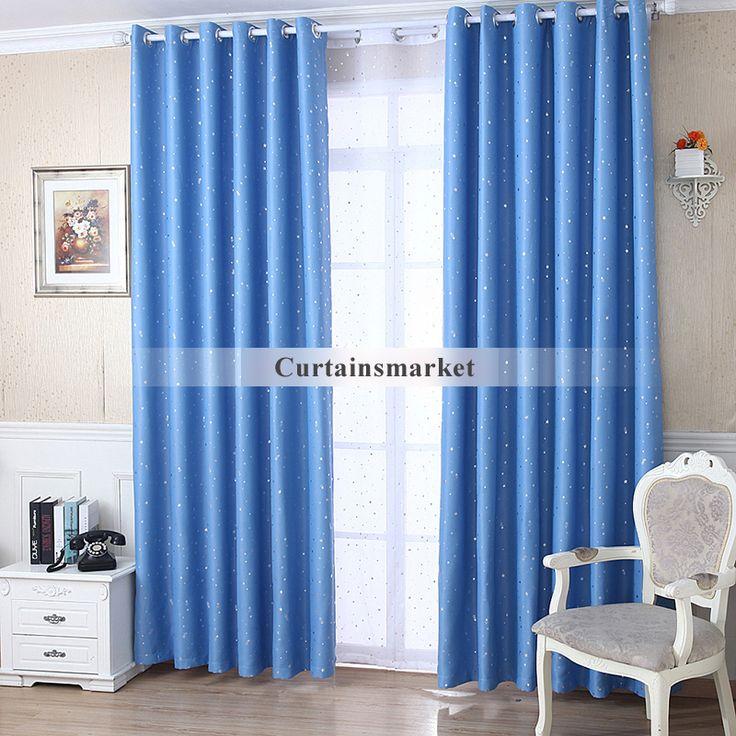 sky blue blackout kids primitive star curtains. Black Bedroom Furniture Sets. Home Design Ideas