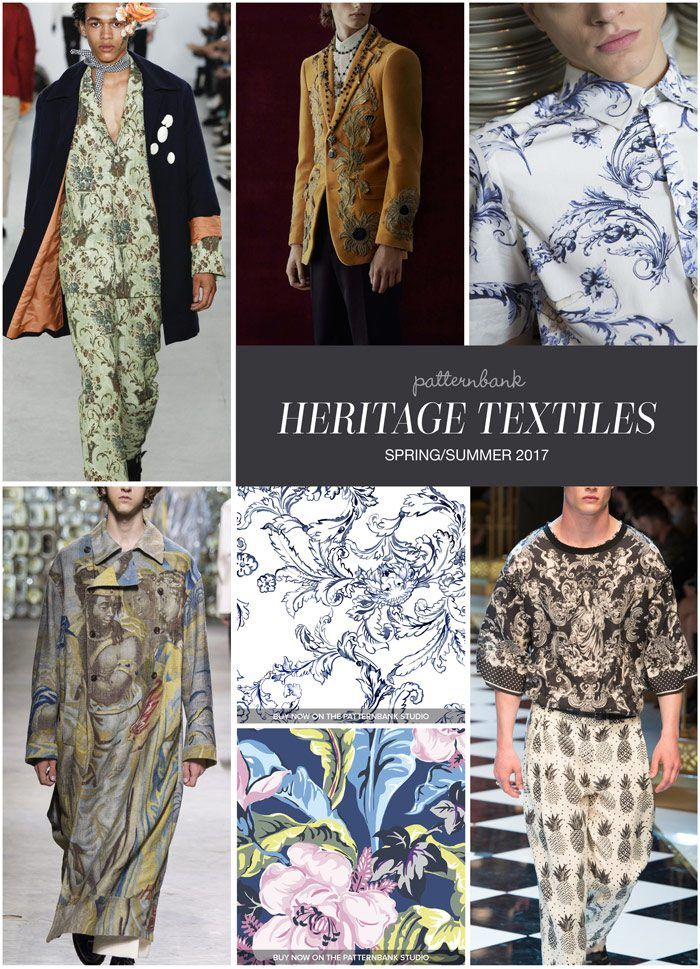 HERITAGE TEXTILES » Agi & Sam / Alexander McQueen / Antonio Marras / Dries van Noten / Lion Scroll Design by Kathleen Ney / Tropical Floral by LALA / Dolce & Gabbana