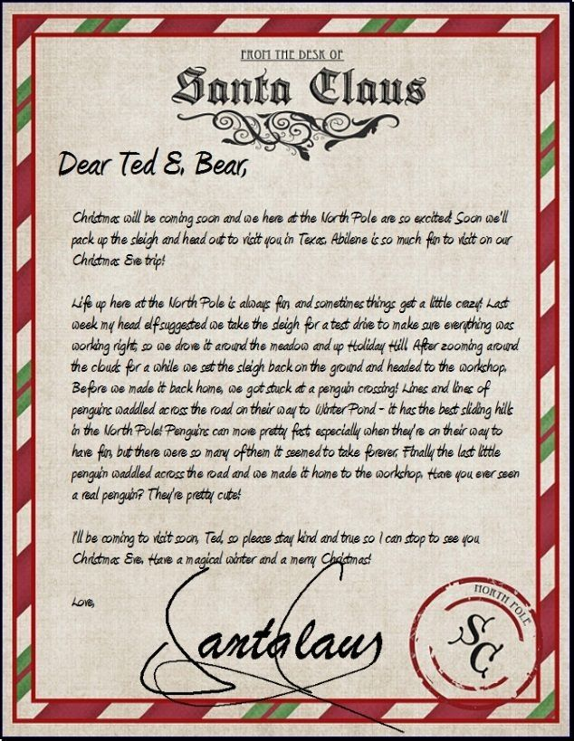 official letter from santa sle letter template Christmas