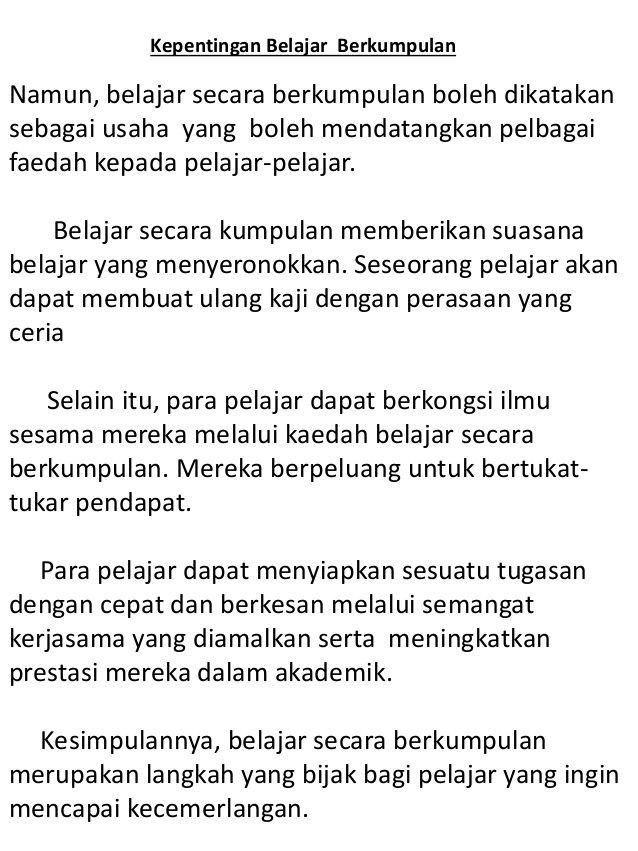 Tajuk karangan bahasa melayu tahun 3.  Malay language