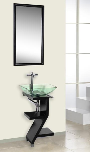 Marvelous Dreamline Bathroom Modern Vanity In Wenge With Glass Sink And Mirror Pictures Gallery