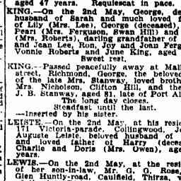 KING, George. Death. The Age, 4 May 1936, 'Family Notices', p. 1.