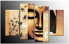 4158 Handpainted 4 Piece Golden Hues Modern Abstract Wall Art Oil Painting On Canvas Buddha Picture For Home Decor Free Shipping $56.00