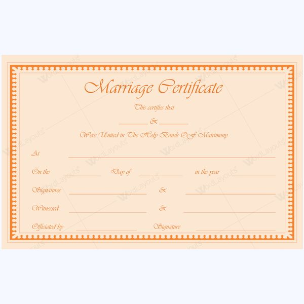 Printable Marriage Certificate Template #marriage #certificate - sample marriage certificate