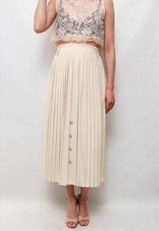 Vintage+80'+Beautiful+Classic+Cream+Pleated+Skirt