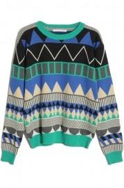 Rhombus Check Green Batwing Sweater