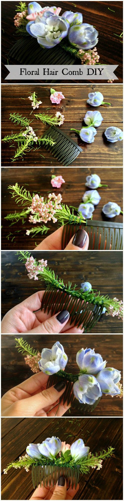flowers-speak-louder | Floral Hair Comb DIY