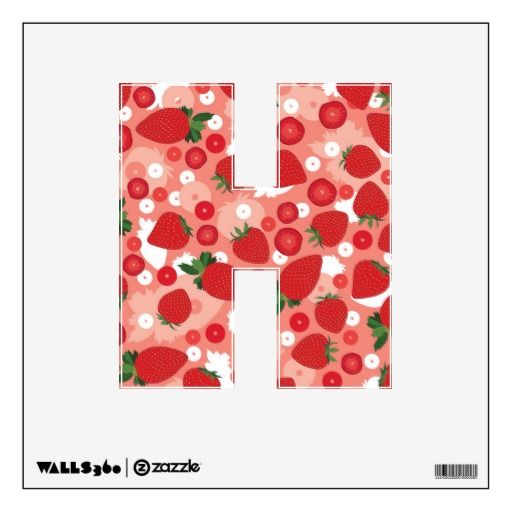 Strawberry - Letter H, Wall Decal
