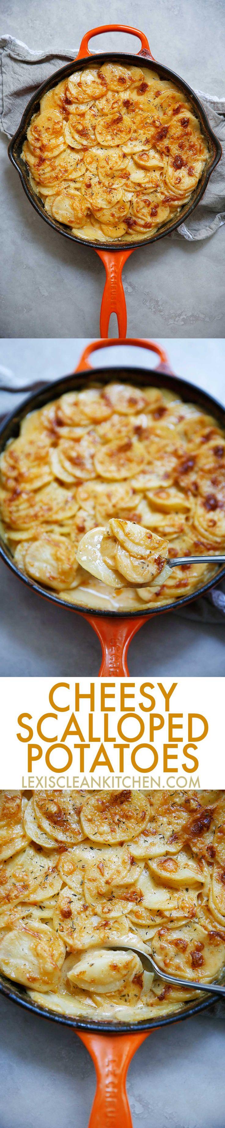 Cheesy Scalloped Potatoes - Lexi's Clean Kitchen #healthier #scalloped #potatoes #thanksgiving