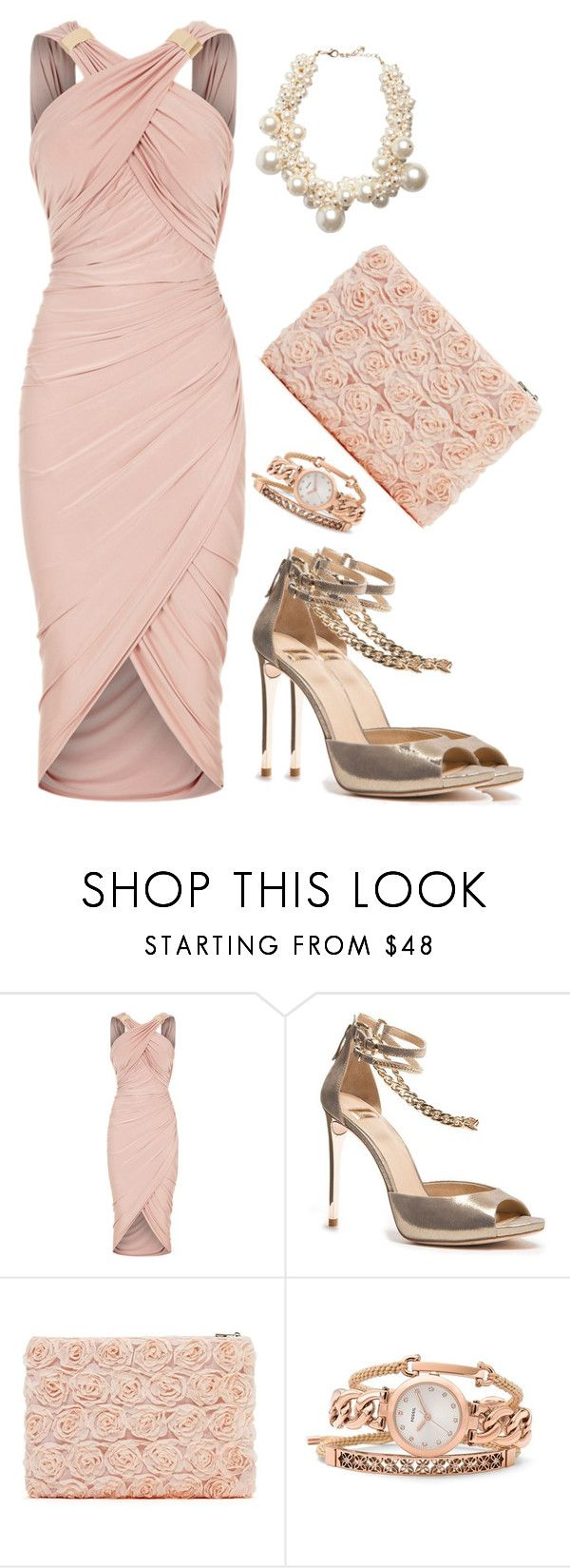 Peach Slim by salbiylaazzara-fashion on Polyvore featuring GUESS by Marciano, Pieces and FOSSIL